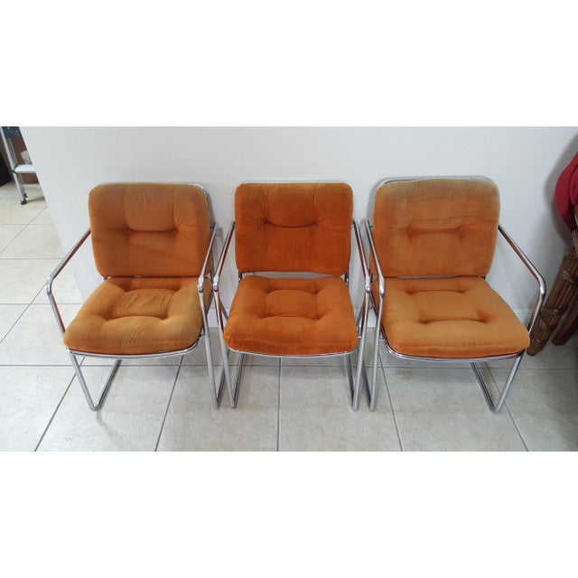 A pair of Super Cool Vintage 1970s Mid Century Modern Chromed Upholstered Chairs by ChromeCraftf Corp. Sleek Chrome Frame...