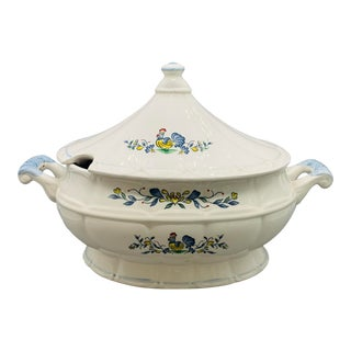 Vintage 1950s Rooster Ceramic Soup Tureen From Japan For Sale