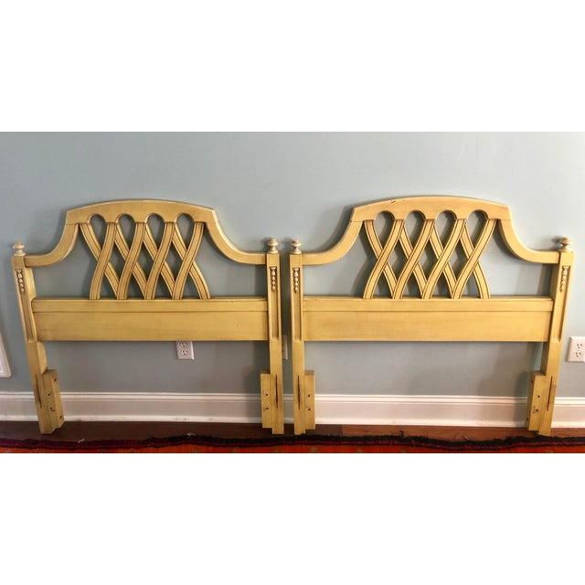 Mid-Century Yellow Lattice Chippendale Twin Headboards- a Pair For Sale - Image 9 of 10