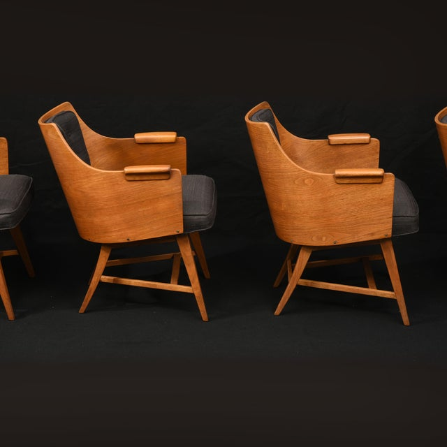 Brown Edward Wormley for Dunbar Chairs, Rare Set of Four, 1950's For Sale - Image 8 of 11
