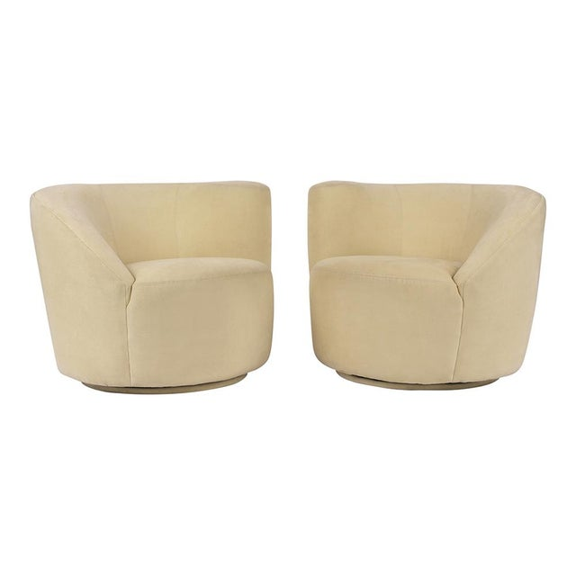 This Pair of Vladimir Kagan for Directional Swivel Lounge Chairs have been restored and are upholstered in the original...
