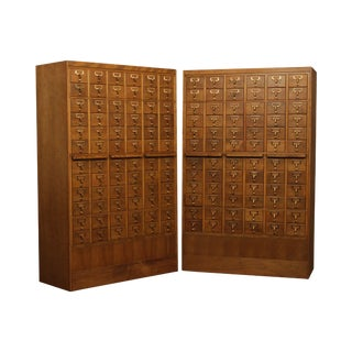 1960's Vintage Maple Pair 72 Drawer Library Card File Cabinets For Sale