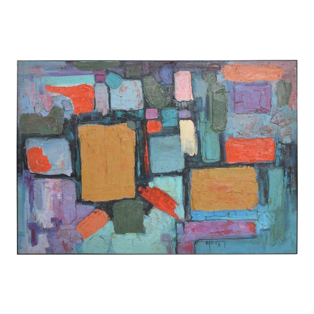 Modern Abstract Oil on Canvas, Signed 1994 For Sale
