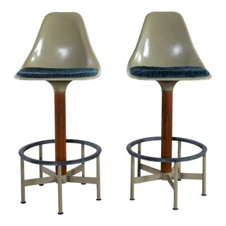 Pair of Burke Swivel Bar Stools Mid Century Modern Fiberglass Shell and Upholstered Seat Pads For Sale