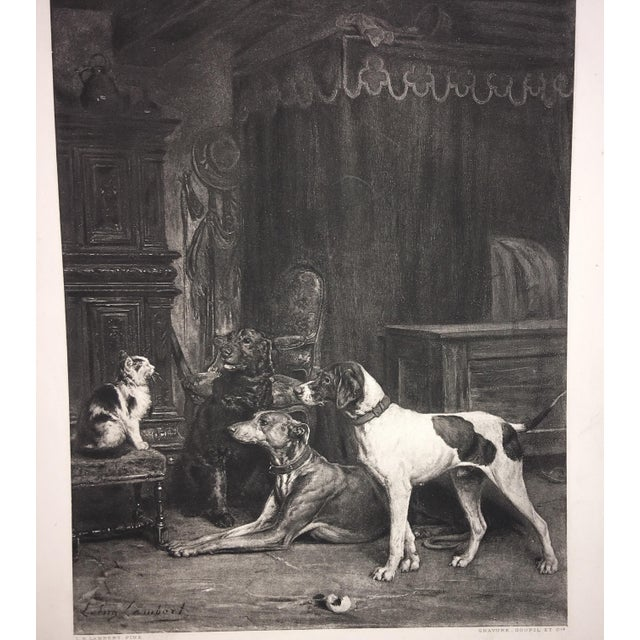 Traditional 1883 Antique L E Lambert Dogs & Cat Lithograph Print For Sale - Image 3 of 8