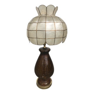 1940s Amber Table Lamp With Shell Shade For Sale