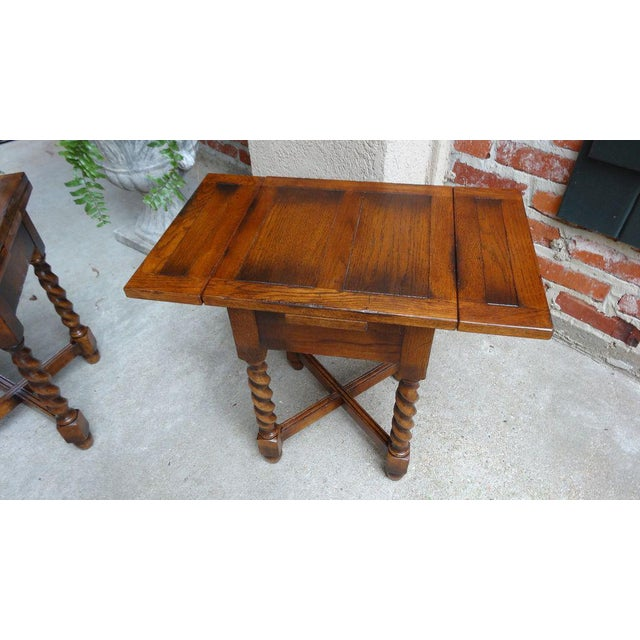 English Traditional Vintage Mid-Century English Draw Leaf Tea Table For Sale - Image 3 of 11