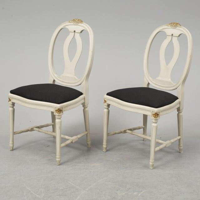 Gray 1970s Vintage Gustavian Rose Chairs - Set of 6 For Sale - Image 8 of 10