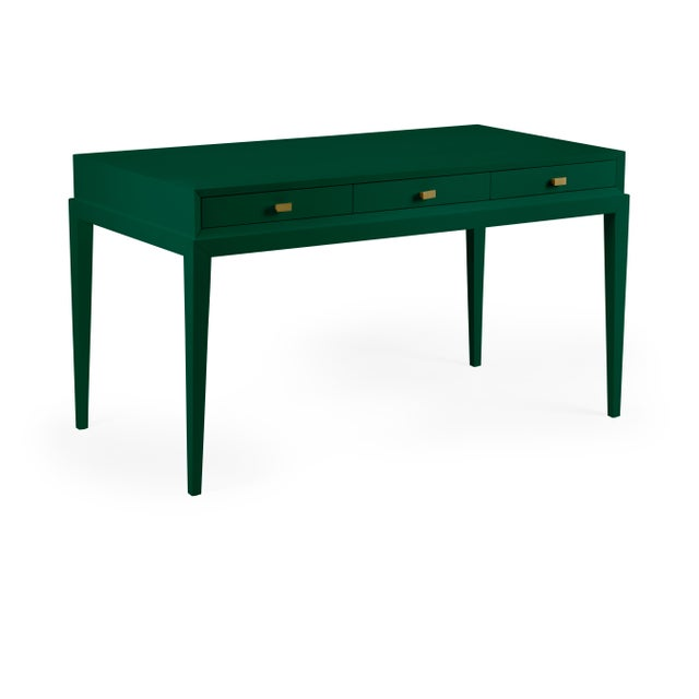 Transitional Casa Cosima Hayes Desk, Chrome Green For Sale - Image 3 of 3
