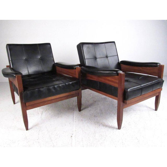 Mid-Century Modern Scandinavian Modern Teak & Vinyl Lounge Chairs - A Pair For Sale - Image 3 of 11