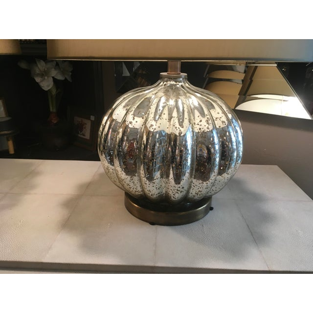Pair of Pumpkin Shaped Mercury Glass Lamps For Sale - Image 4 of 6
