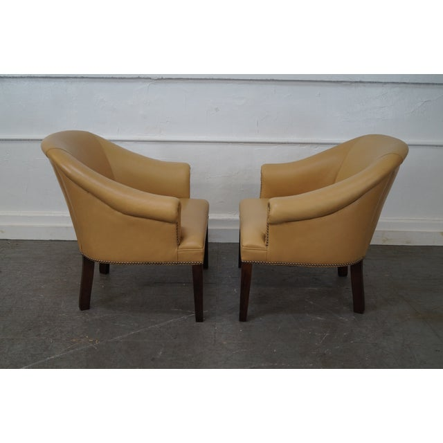 Quality Leather Barrel Back Arm Chairs - Pair - Image 5 of 10