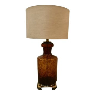 Murano Amber Colored Glass Table Lamp, Vintage For Sale