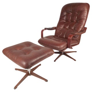 "Mid-Century ""Kropp Stolen Original"" Lounge Chair & Ottoman For Sale"