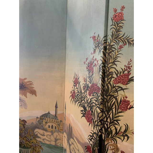 Paint Vintage Maitland Smith Hand Painted 4 Panel Folding Screen For Sale - Image 7 of 13