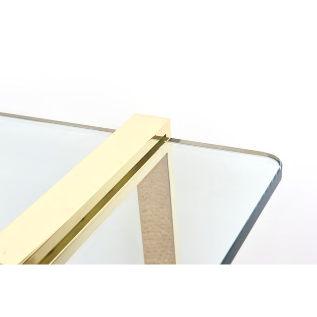 Metal 1980s Pace 24 Karat Gold Plated and Glass Rectangle Cocktail Table For Sale - Image 7 of 9