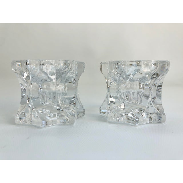 1980s Vintage Faceted Crystal Candle Holders - a Pair For Sale - Image 5 of 6