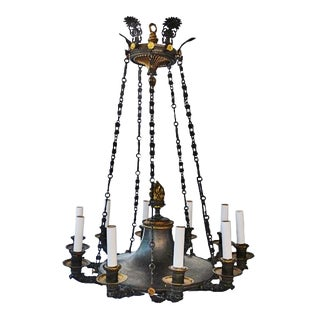 Late 19th Century Vintage Neoclassical 10 Light Chandelier For Sale