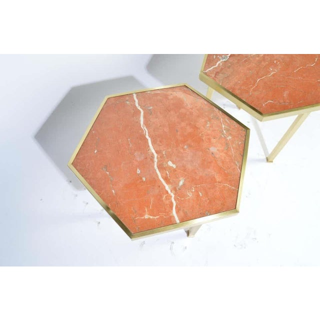 """Rojo Alicante Marble and Brass Occasional Tables by William """"Billy"""" Haines - Set of 6 For Sale - Image 9 of 11"""