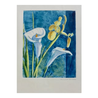 Contemporary Drawing, Iris and Calla Lillies For Sale