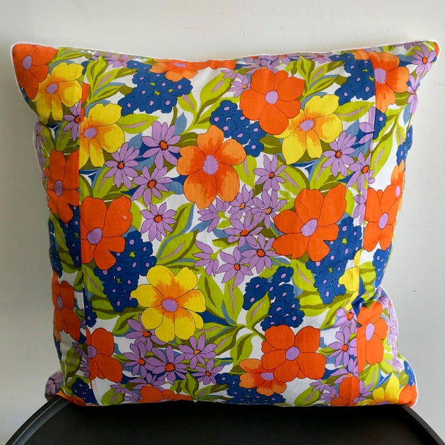 Vintage Scarf Decorative Pillow For Sale - Image 4 of 4