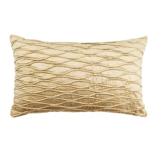 Contemporary Tr Essentials Taupe Pleated Velvet Pillow - 12x20 For Sale