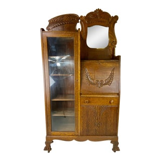 Victorian Oak Side by Side / Secretary Desk For Sale