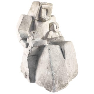 Cubist Figural Sculpture in Chalk For Sale