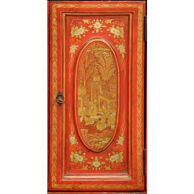 Red Antique Chinese Export Miniature Cabinet, Circa 1850 For Sale - Image 8 of 9