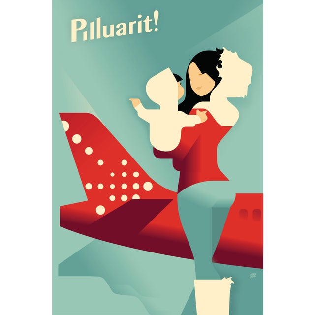 Art Deco Danish Modern Travel Poster, Air Greenland Pilluarit! For Sale - Image 3 of 3