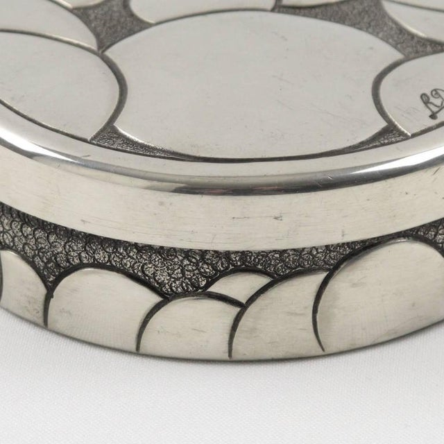 French Rene Delavan Art Deco Dinanderie Polished Pewter Box, 2 Pieces For Sale In Atlanta - Image 6 of 11