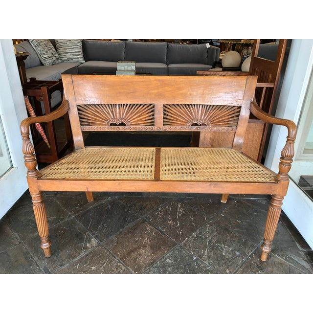 1960s Vintage Hand-Carved Caned Bench For Sale - Image 12 of 12