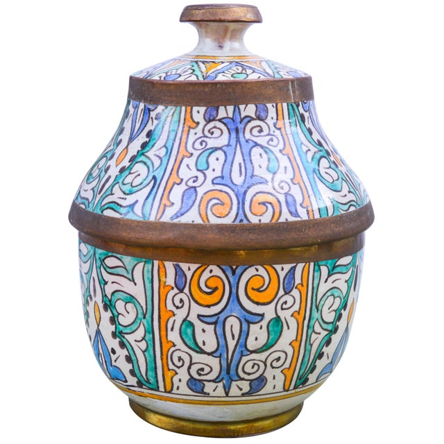 Turquoise Moroccan Ceramic Lidded Bowl With Arabesque For Sale - Image 8 of 12