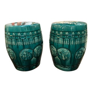 Vintage Chinese Glazed Terra Cotta Garden Seats in Teal - a Pair For Sale