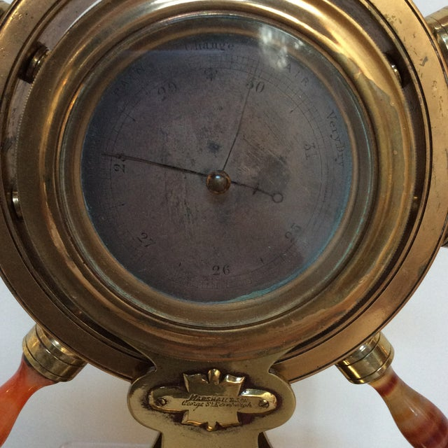 Gold Agate & Brass Nautical Barometer For Sale - Image 8 of 10