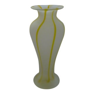 Vintage Striped and Frosted Murano Glass Vase For Sale