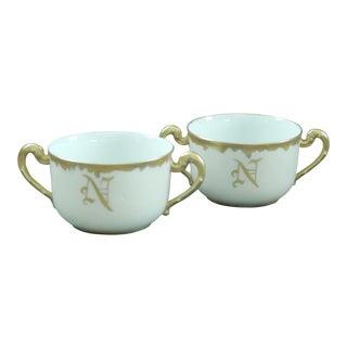 1891 Limoges Bouillon Cups by Tressemanes & Vogt - a Pair For Sale