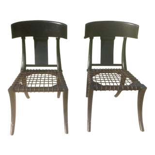 Klismos Ebony Side Chairs - a Pair For Sale