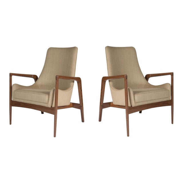 Pair of Warren Walnut Lounge Chairs For Sale