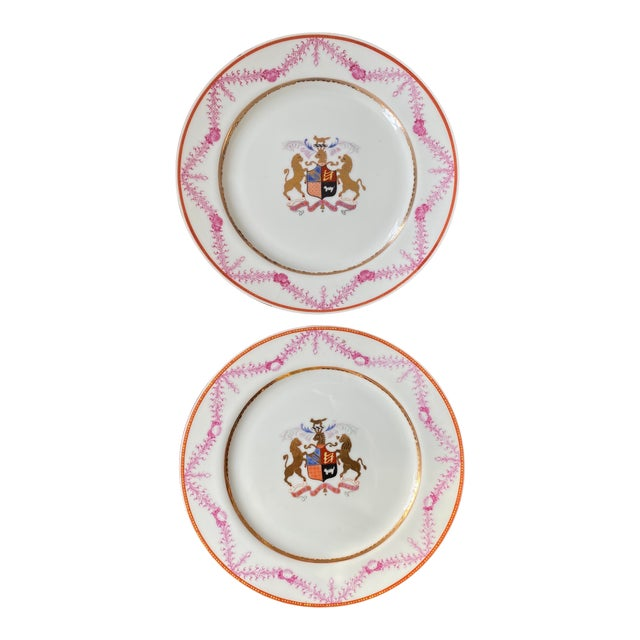 Antique Corsican French-Italian Coat of Arms Sola Virtue Invest Plates - a Pair For Sale