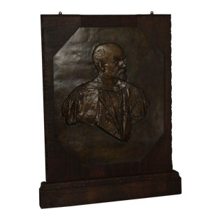 Alice Meredith Williams Large Framed Oak Bronze Relief Sculpture of Stalin For Sale