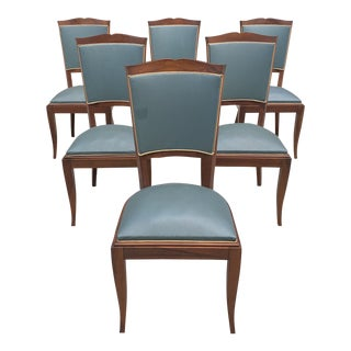 1940s Jules Leleu French Art Deco Solid Wlnut Dining Chairs - Set of 6 For Sale