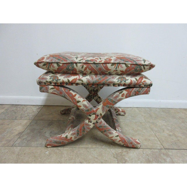 A custom upholstered footstool. Great shape, tight and sturdy, with a few minor wear scratches and scuffs.