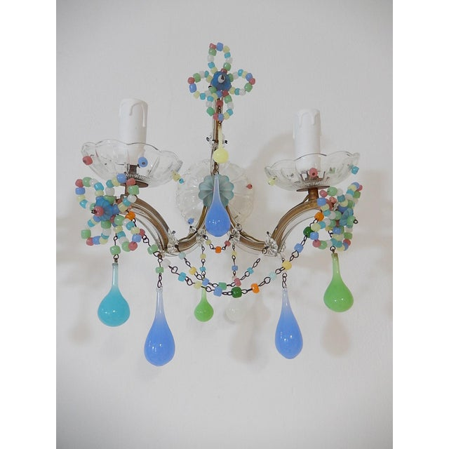 French French Confetti Colourful Murano Glass Opaline Sconces, Circa 1920 For Sale - Image 3 of 10