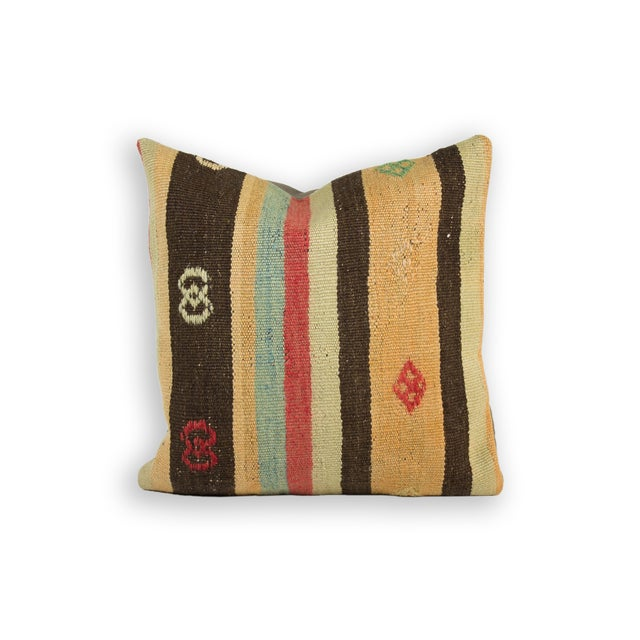Muted Striped & Embroidered Kilim Pillow - Image 2 of 3