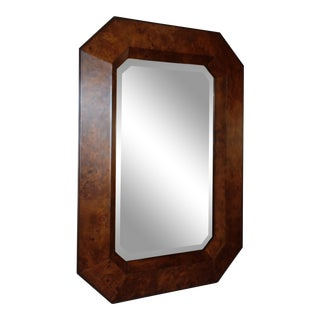 Williams Sonoma Home Burlwood Octagon Beveled Mirror For Sale