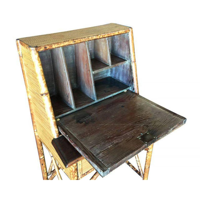 Wood Restored Tiger Bamboo Secretary Desk With Ricemat Covering For Sale - Image 7 of 9