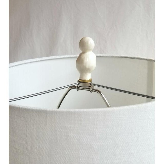 Handmade Ceramic White Finials for Lamps - a Pair For Sale - Image 4 of 5