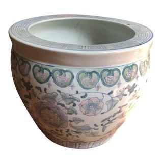 1970s Vintage Greek Key Asian Ceramic Planter For Sale