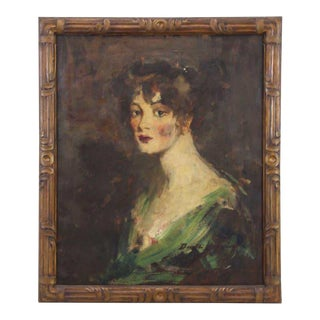 Early 20th Century Antique Ben Ali Haggin Portrait Sketch Oil on Canvas Painting For Sale